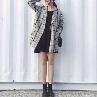 🚚 (二手)春夏格子西裝外套