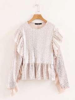 🔥Europe 2018 Loose Round Neck Long Sleeve Light Laminated Shirt