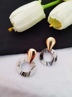 Geometric Marble Earring