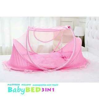 3 in 1 Foldable Baby Bed - PINK