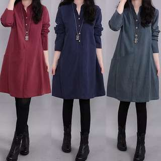 (M~3XL) Korea loose long-sleeved cotton and linen dresses
