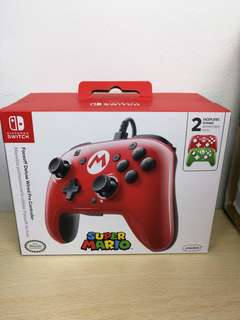 (Brand New) PDP Faceoff Deluxe Wired Pro Controller for Nintendo Switch - Super Mario Edition with Green and Red Faceplates