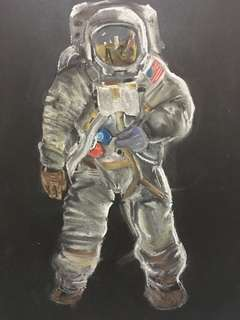 Astronaut Pastel Painting 15x20