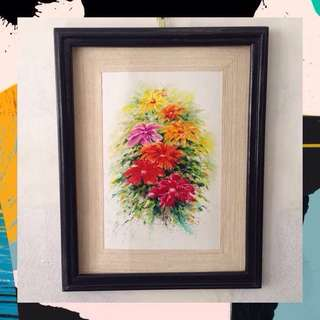 "Acrylic + Watercolor Painting - ""Flora #1"" (ready to hang)"