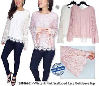 Simply Styled White & Pink Scalloped Lace Bellsleeve Top