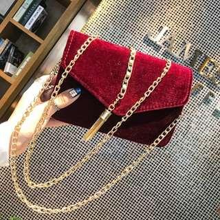 Elegant Suede Chain Tassel Sling Bag