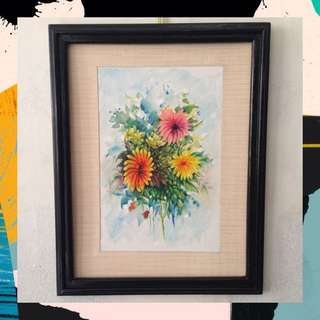"Acrylic + Watercolor painting - ""Flora #3"" (ready to hang)"