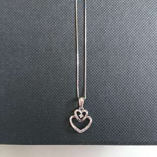 SK Jewellery (K10 Japan) White Gold Necklace (chain+heart pendant)