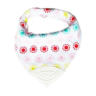 Bandana Chewable Teething Bib with Teether - Rainbow Dots