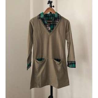 plaid collared sweater dress