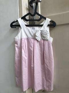 Dress light pink putih