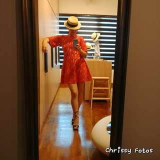 Asos lace red dress size UK 12