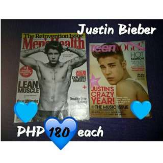 Justin Bieber Men's Health and Teen Vogue Magazines