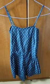 Spagatti strap dark blue polka dot dress