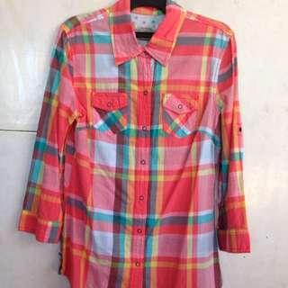 Plaid Polo Blouse For Women