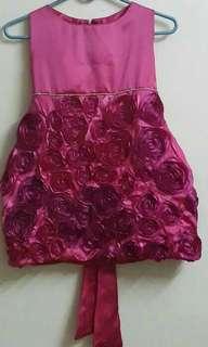1 piece dark pink satin dress 6 yrs