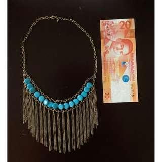 F21 green stones w chain drops necklace