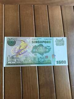 $500 Bird Deties Note