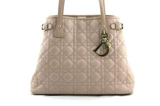 CHRISTIAN DIOR Cannage Quilted Coated Canvas Panarea Medium Tote Bag