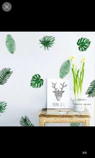 $25=12pcs Nordic Ins Wall Sticker Painting Monstera Palm Leaf / Maple Leaf Tropical Elements Bedroom background Warm stickers Home decor ( Size see pic 6 )