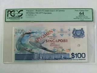 Singpore bird series 100 dollars SPECIMEN