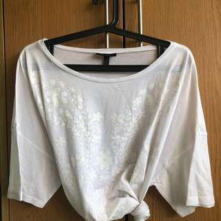 Topshop Oversize White Floral Print Top