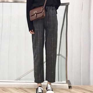 instock korean grid pants