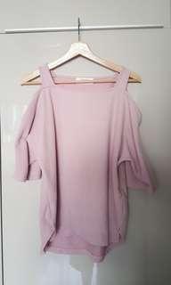 日本Lowrys Farm粉紅露肩上衣(8成新M碼)