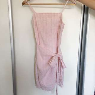 Pink Wrap Tie Dress