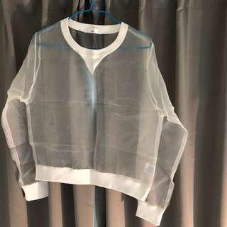 自購於韓國  白色透視上衣