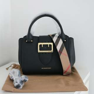 Burberry Small Buckle Tote in Grainy Leather
