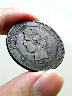 1872 France 10 centimes coin