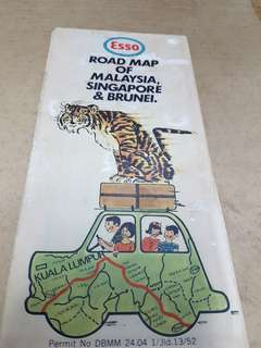 1971 Esso The Road map of Malaysia Singapore Brunei