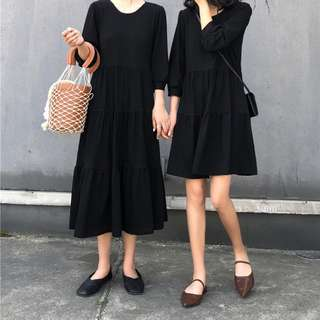 素色黑色圓領燈籠袖蛋糕裙洋裝