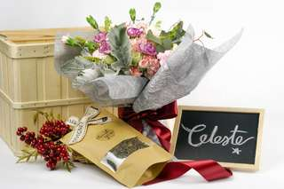 Mother's Day CELESTE Flower Bouquet & Tea Set