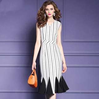White striped fishtail dress