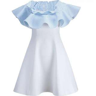 Pale Blue and White Off Shoulder Special Design Flared Simple Sexy Skinny Short Dress Cocktail/ Black Tie/ Wedding Guest/ Anuual Dinner/ Graduation/ Birthday Gift