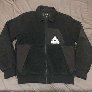 🚚 [L號] PALACE 黑色 經典 拼接 毛料 教練外套 夾克 二手 英國 滑板 三角 LOGO SUPREME
