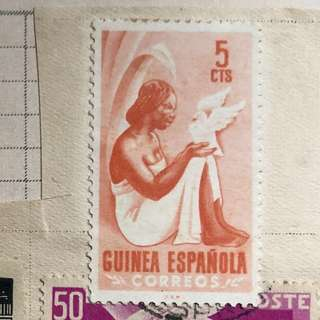 Stamp - old stamp from Guinea Espanola (Spain Colony) , 5 CTS  (MINT Used)