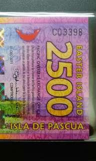 2011年 大洋洲 復活節島 2500元 塑膠鈔 全新直版
