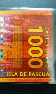 2011年 大洋洲 復活節島 1000元 塑膠鈔 全新直版