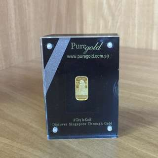 999 Fine Gold 1g Gold Bar - Merlion in Display Casing - Priced to sell