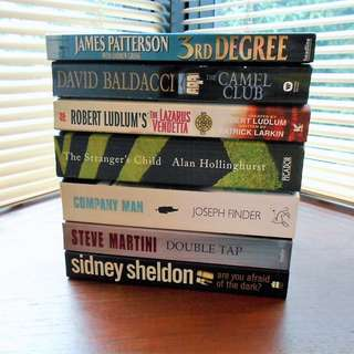 JAMES PATTERSON / ROBERT LUDLUM / ALAN HOLLINGHURST / JOSEPH FINDER / STEVE MARTINI / SIDNEY SHELDON / DAVID BALDACCI Book Bundle x7