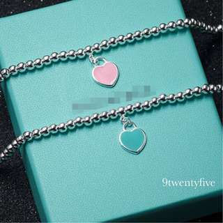 BR-001 - S925 Silver Double Love Heart bracelet