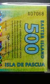 2011年 大洋洲 復活節島 500元 塑膠鈔 全新直版