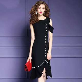 Black pearl trim dress