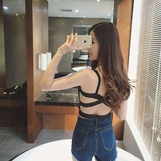 Women Cross Back Tops Bustier Bra Vest Crop Top Bralette