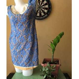 blue laced mini dress