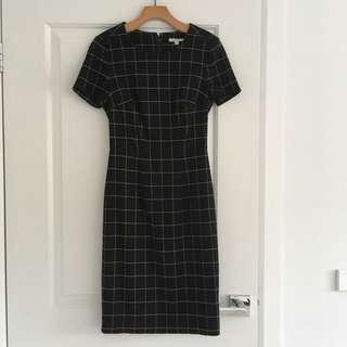 Black Checkered Short Sleeve Dress