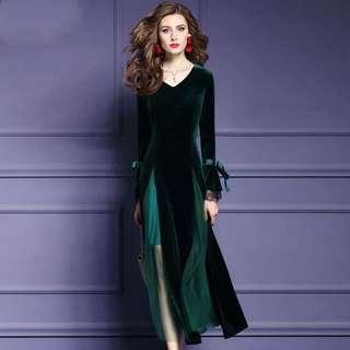 Dark green mesh details velvet dress